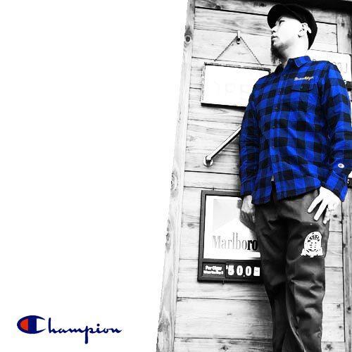 チャンピオン【CHAMPION】CAMPUS BROOKLYN EMBROIDERY CHECK L/S SHIRTS(キャンパスブルックリン刺繍チェック長袖シャツ)送料無料ポルタアンドゲートPORTAANDGATE