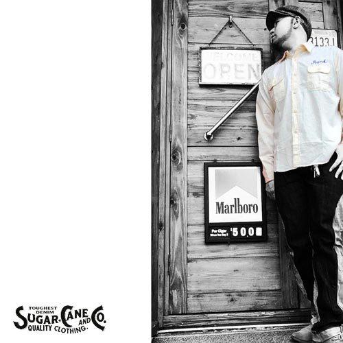 シュガーケン【SUGER CANE】CHAMBRAY W/CHAIN EMBROIDERY WORK S/S SHIRTS(チェーン刺繍シャンブレーワークシャツ)送料無料ポルタアンドゲートPORTAANDGATE