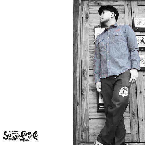 シュガーケン【SUGER CANE】HICKORY STRIPE EMBROIDERY WORK L/S SHIRTS(ヒッコリーストライプ刺繍ワーク長袖シャツ)送料無料ポルタアンドゲートPORTAANDGATE2