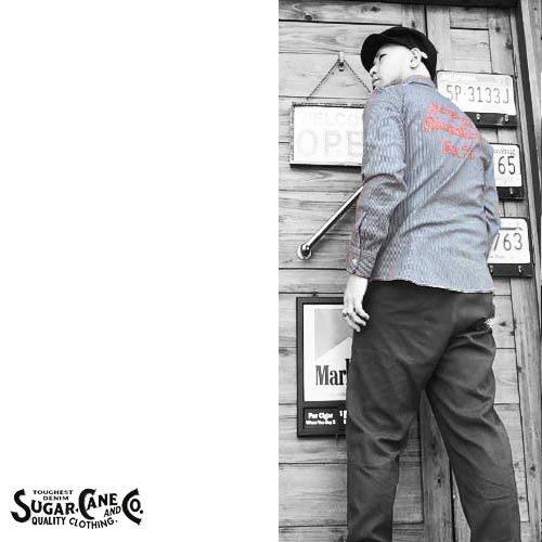 シュガーケン【SUGER CANE】HICKORY STRIPE EMBROIDERY WORK L/S SHIRTS(ヒッコリーストライプ刺繍ワーク長袖シャツ)送料無料ポルタアンドゲートPORTAANDGATE