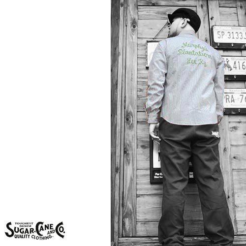 シュガーケン【SUGER CANE】HICKORY STRIPE EMBROIDERY WORK L/S SHIRTS(ヒッコリーストライプ刺繍ワーク長袖シャツ)送料無料ポルタアンドゲートPORTAANDGATE3