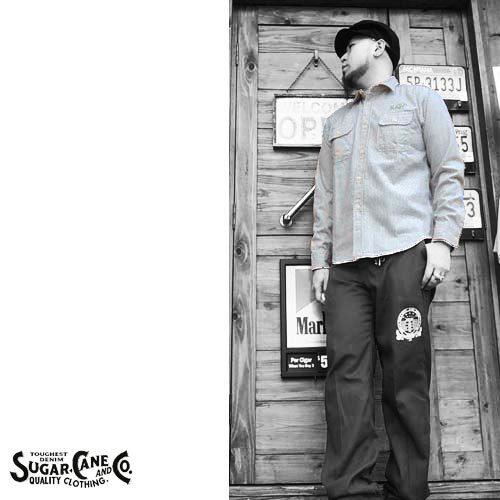 シュガーケン【SUGER CANE】HICKORY STRIPE EMBROIDERY WORK L/S SHIRTS(ヒッコリーストライプ刺繍ワーク長袖シャツ)送料無料ポルタアンドゲートPORTAANDGATE4