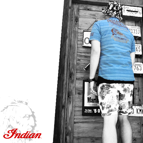 インディアンモトサイクル【INDIANMOTOCYCLE 】INDHIAN HEAD NAITIVE BORDER EMBROIDERY SHAMBRAY S/S SHIRTS(シャンブレー地刺繍ボーダー半袖シャツ)送料無料ポルタアンドゲートPORTAANDGATE2
