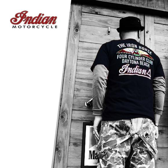ポルタアンドゲートPORTAANDGATEインディアンモーターサイクル【INDIAN MOTORCYCLE 】THE IRON HORSE S/S T-SHITRS (アイアンホースデザインプリントTシャツ)